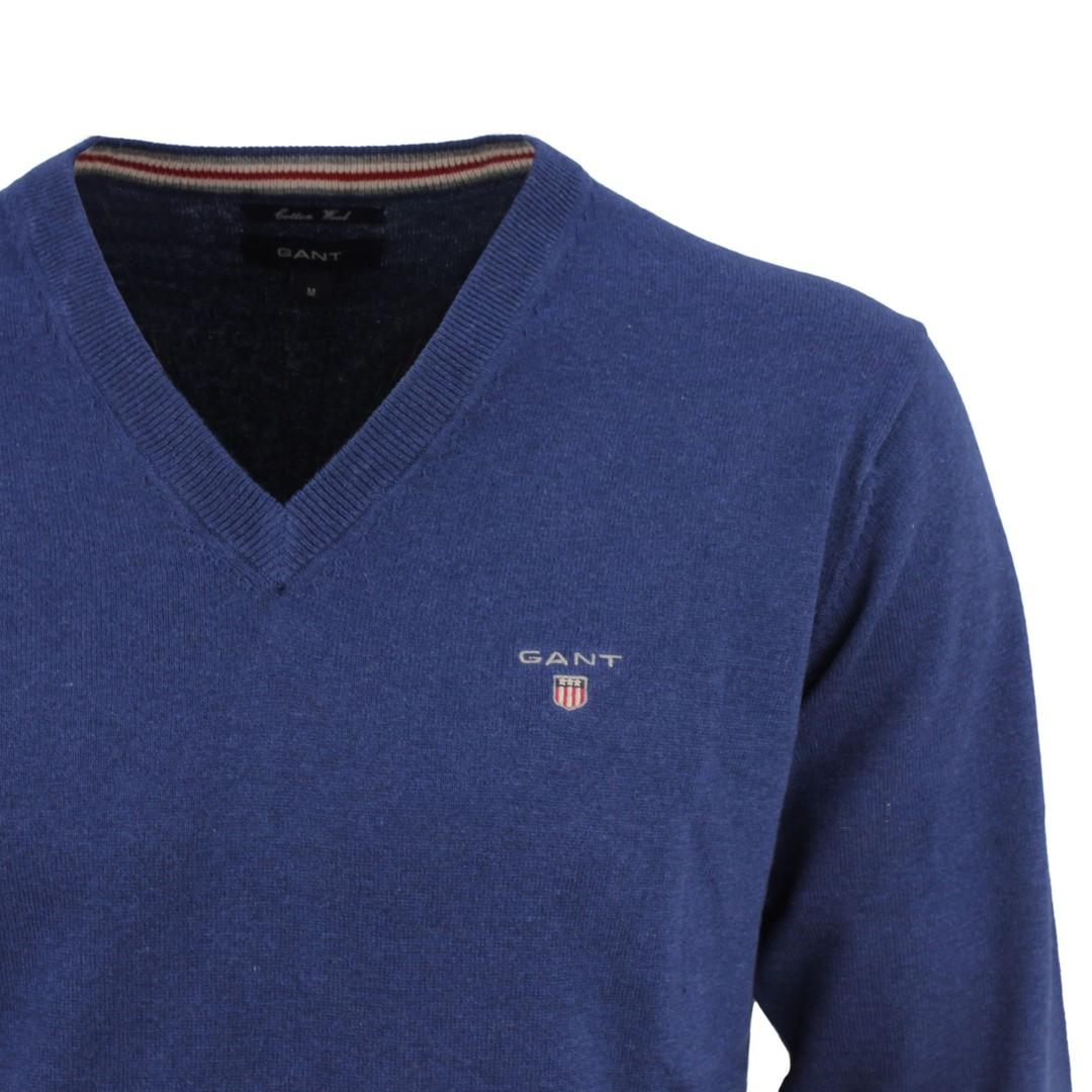GANT Herren Strick Pullover V-Ausschnitt royal blau 83102 487
