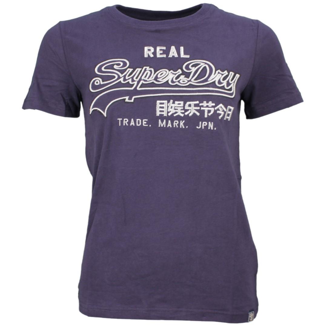 Superdry Damen T-Shirt Embroidery Outline blau W1000037A JVK navy