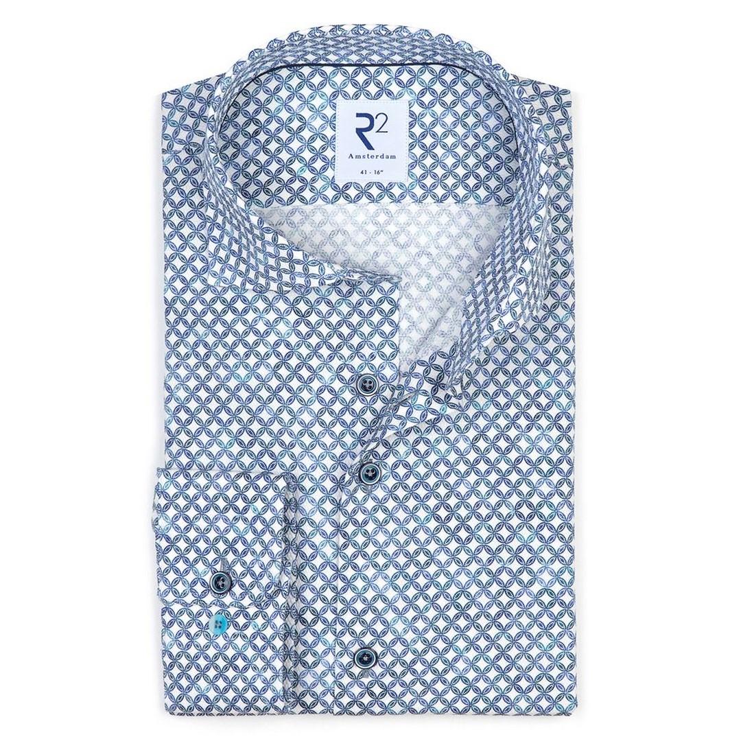 R2 Amsterdam Herren Hemd Widespread blau gemustert 112.WSP.068 014 Flecht-Kette