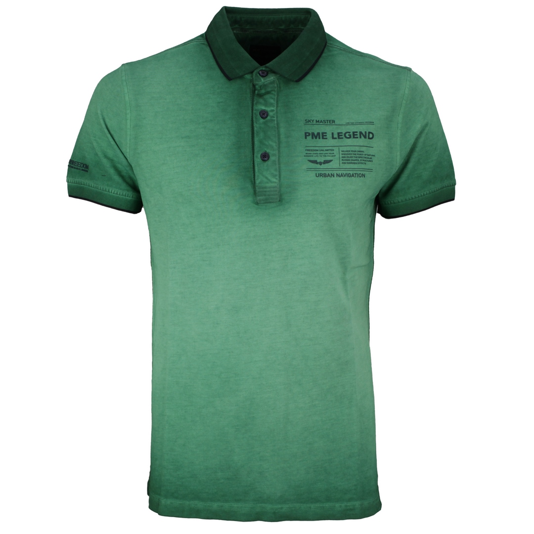 PME Legend Polo Shirt Light Pique Cold Dye grün unifarben PPSS212861 6254