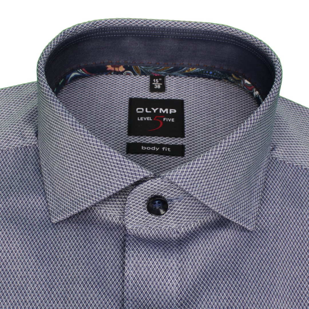 Olymp Herren Body Fit Hemd Level 5 blau strukturiert 202864 18