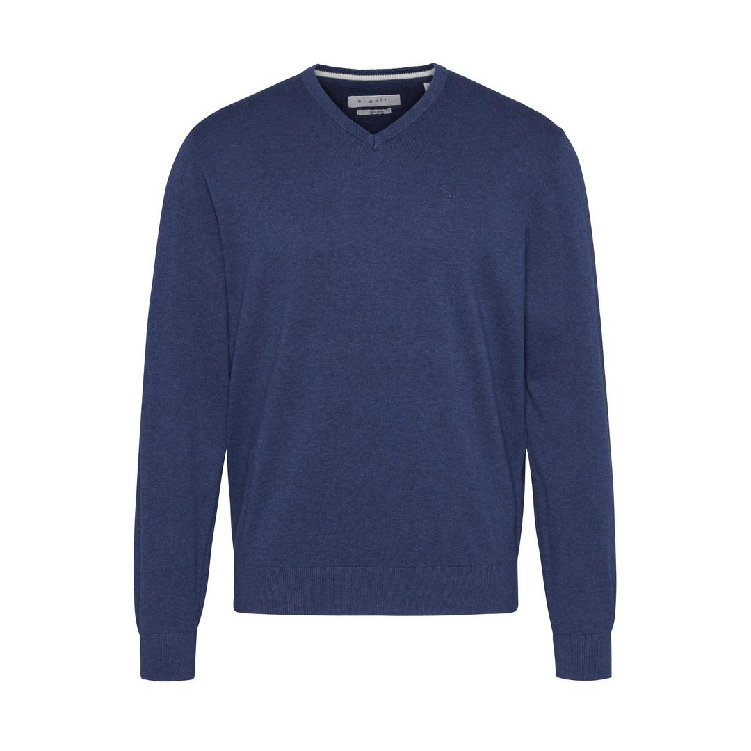 Bugatti Herren Strick Pullover blau unifarben 55510 7300 370 marine
