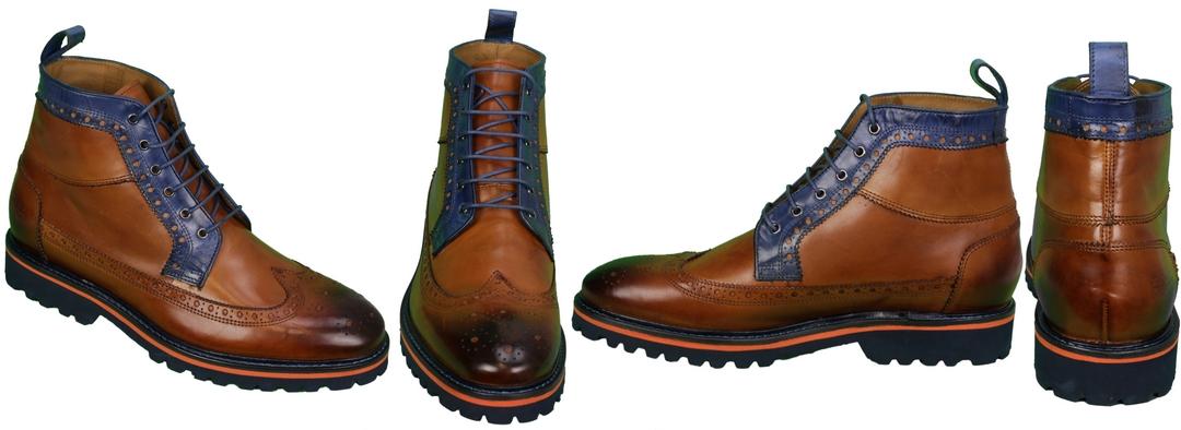 Melvin & Hamilton Schuhe Stiefel braun blau Matthew 9 111213  Crust Tan Electric Blue