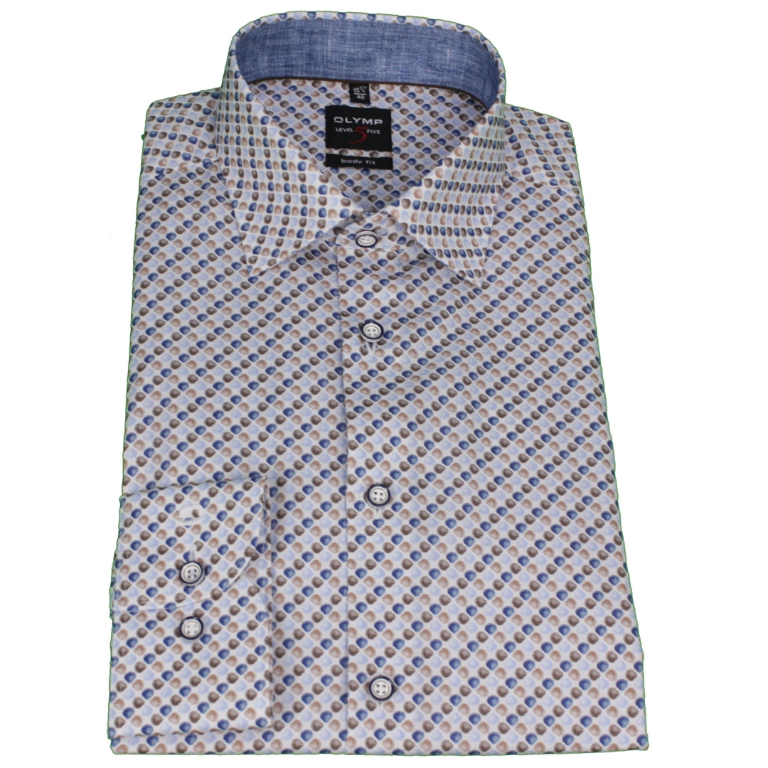 Olymp Herren Body Fit Hemd Level 5 mehrfarbig gemustert 203374 28