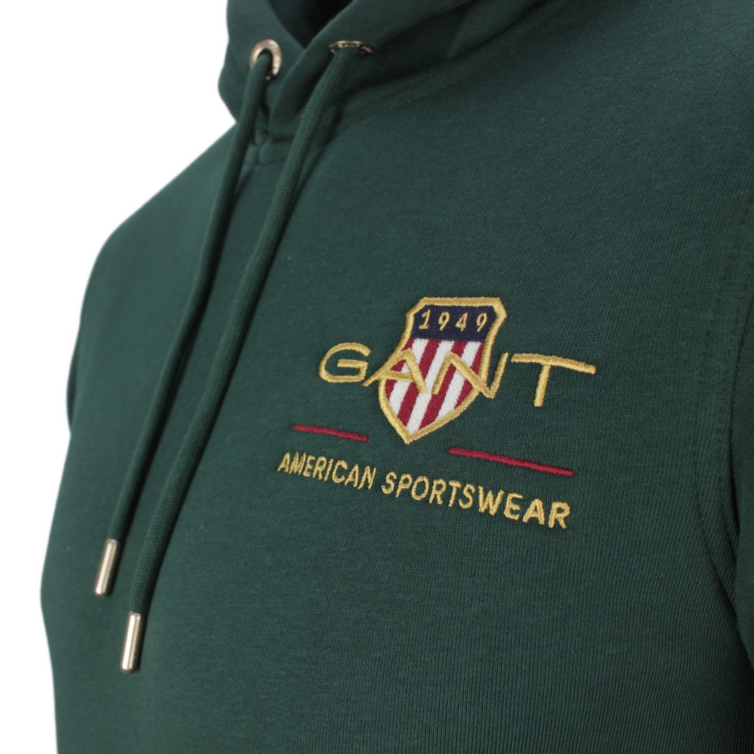 Gant Archive Shield Hoodie Kapuzen Sweat Pullover 2047076 374 Tartan Green