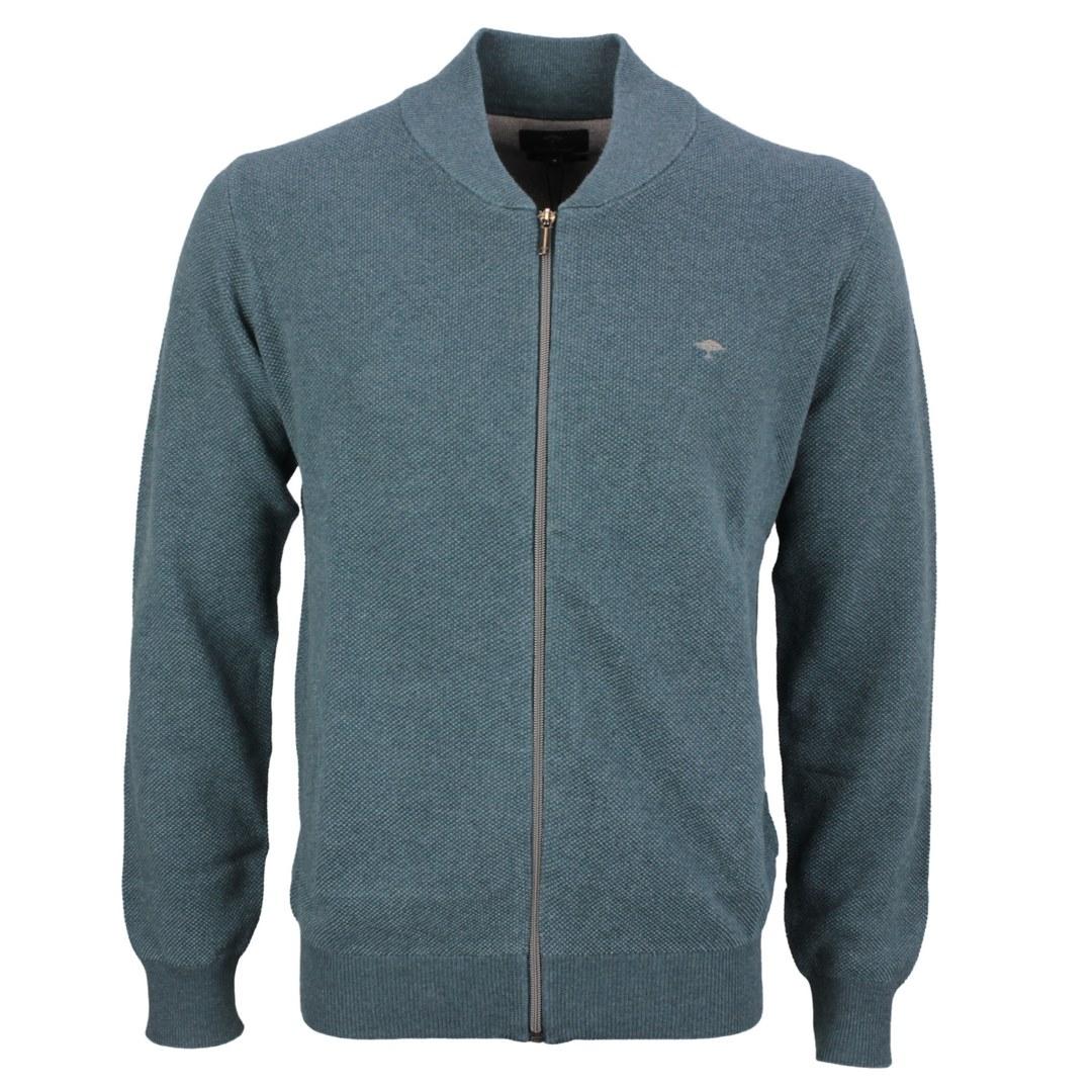 Fynch Hatton Strick Jacke Strickjacke Fullzip blau unifarben 1221224 1700 diesel pine