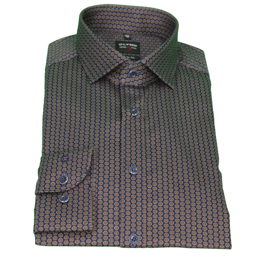 Olymp Body Fit Level 5 Hemd mehrfarbig Minimal Muster 2001 44 28