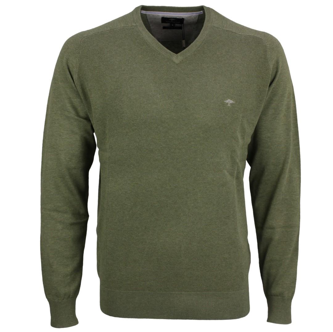 Fynch Hatton Herren Strick Pullover grün strukturiert 1121256 754 olive