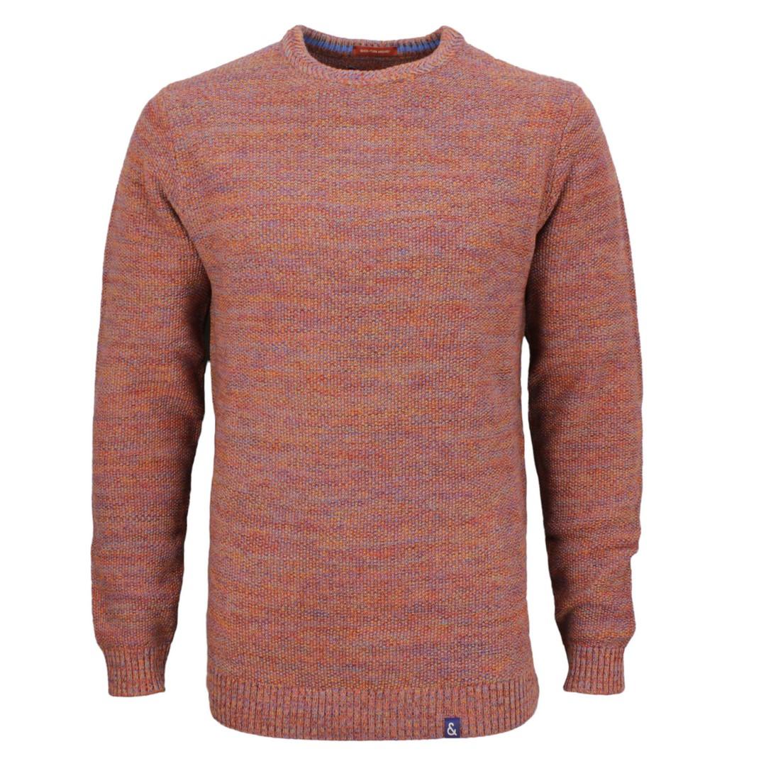 Colours & Sons Herren Strick Pullover Strickpullover rot mehrfarbig meliert 9220 131 902