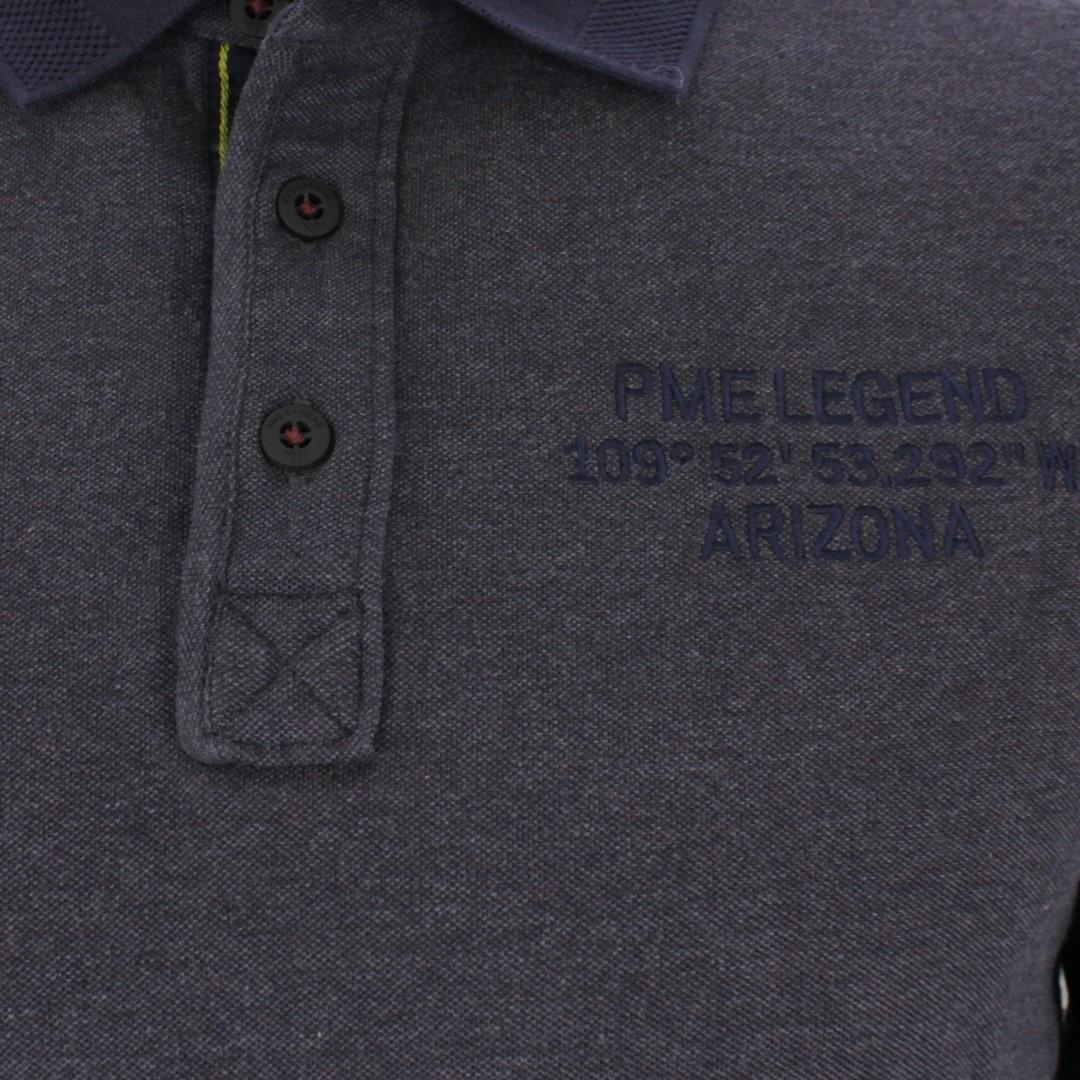 PME Legend Herren Rugby Shirt Pique blau meliert PPS206814 5288
