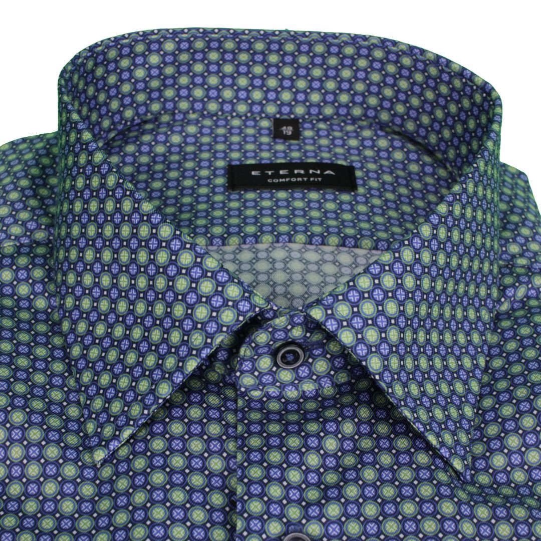 Eterna kurzarm Hemd minimal Muster 3425 K18E 44, grün