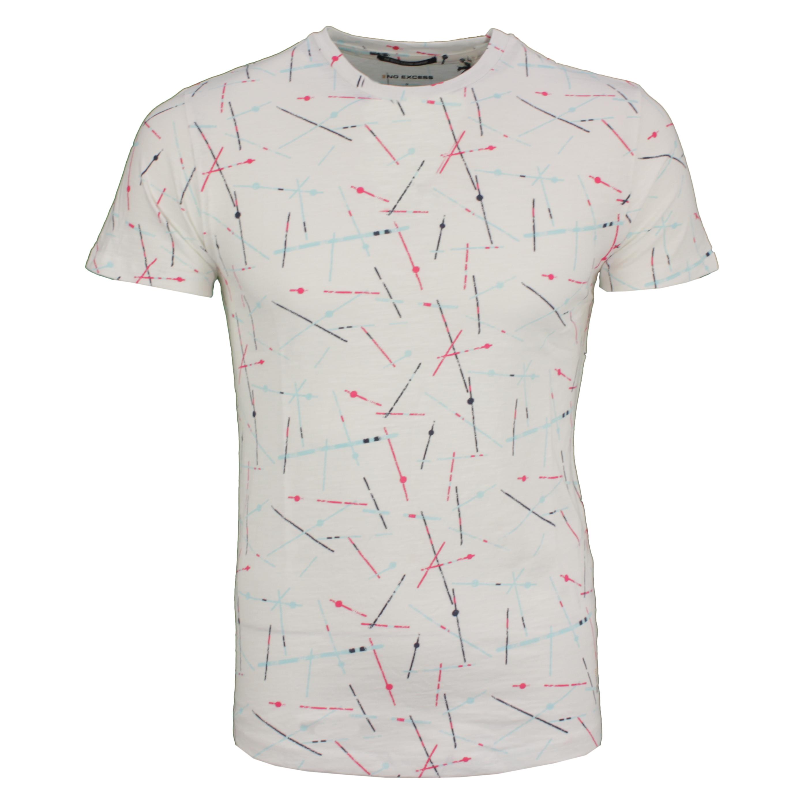 No Excess Herren T-Shirt Shirt kurzarm weiß gemustert 96340506 010