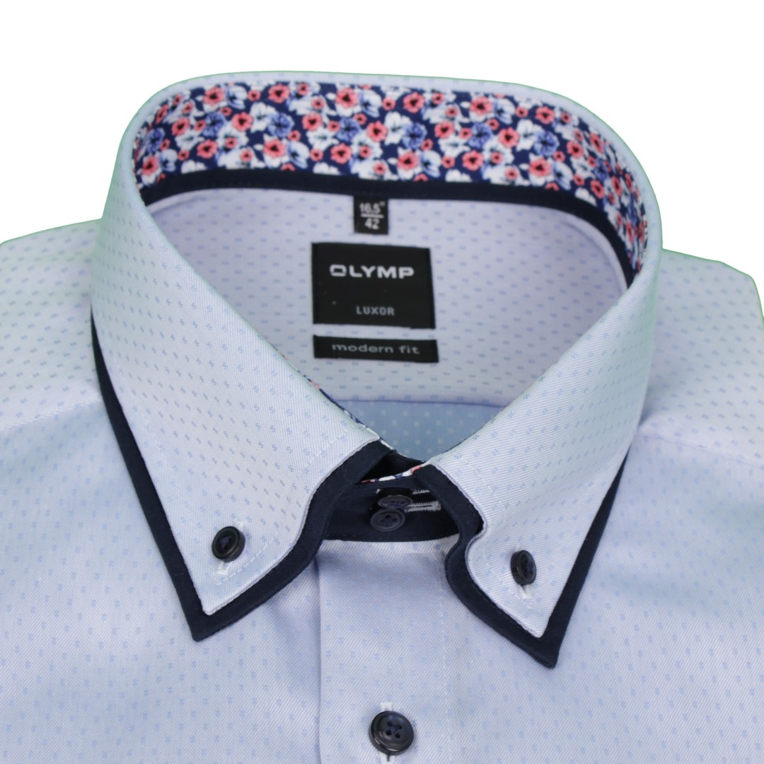 Olymp Herren Luxor Modern Fit Hemd Doppelkragen blau unifarben 1362 54 11