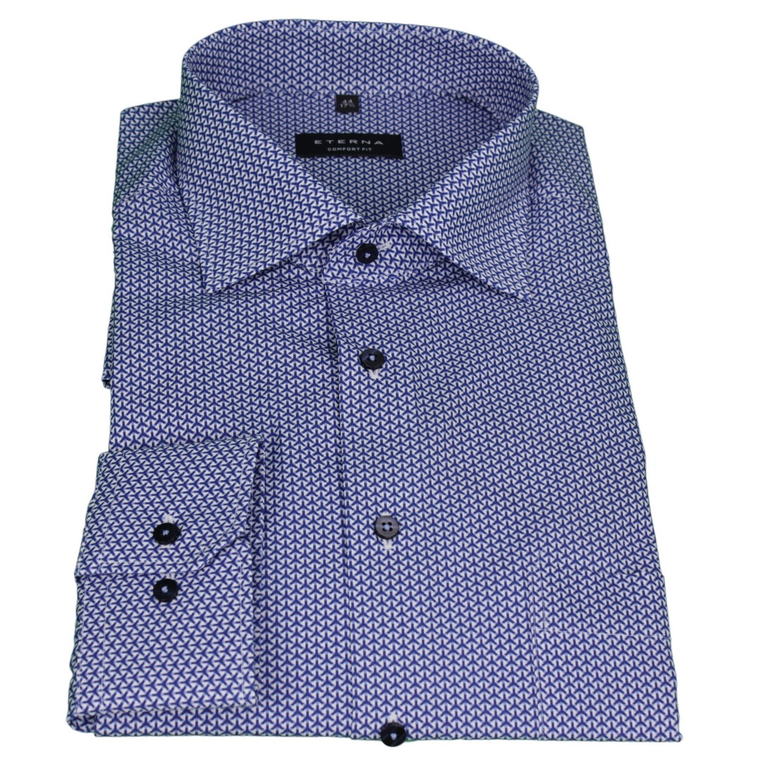 Eterna Herren Hemd Comfort Fit blau Minimal Muster 3913 E19K 16