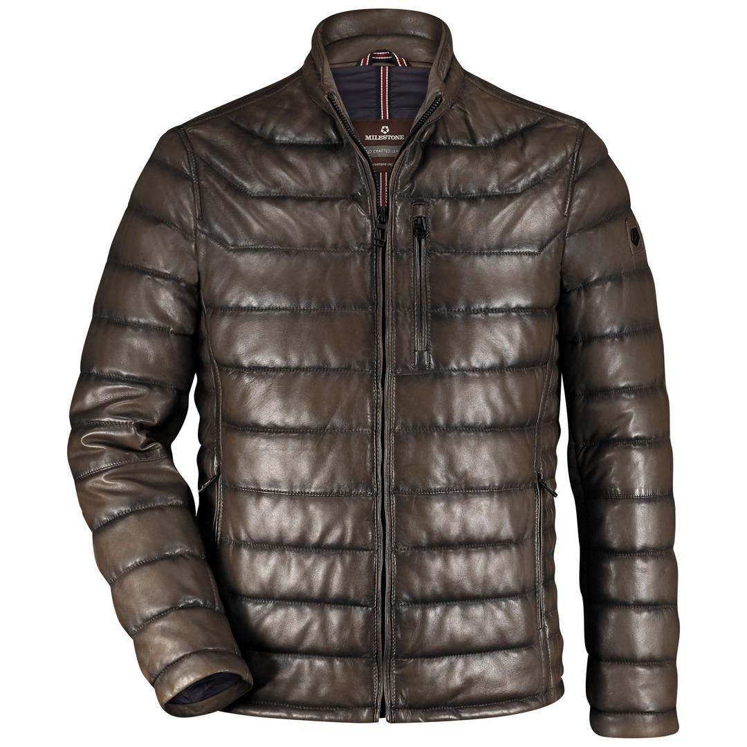Milestone Herren Lederjacke Jacke dunkelbraun gesteppt Pacino 13100060020 29