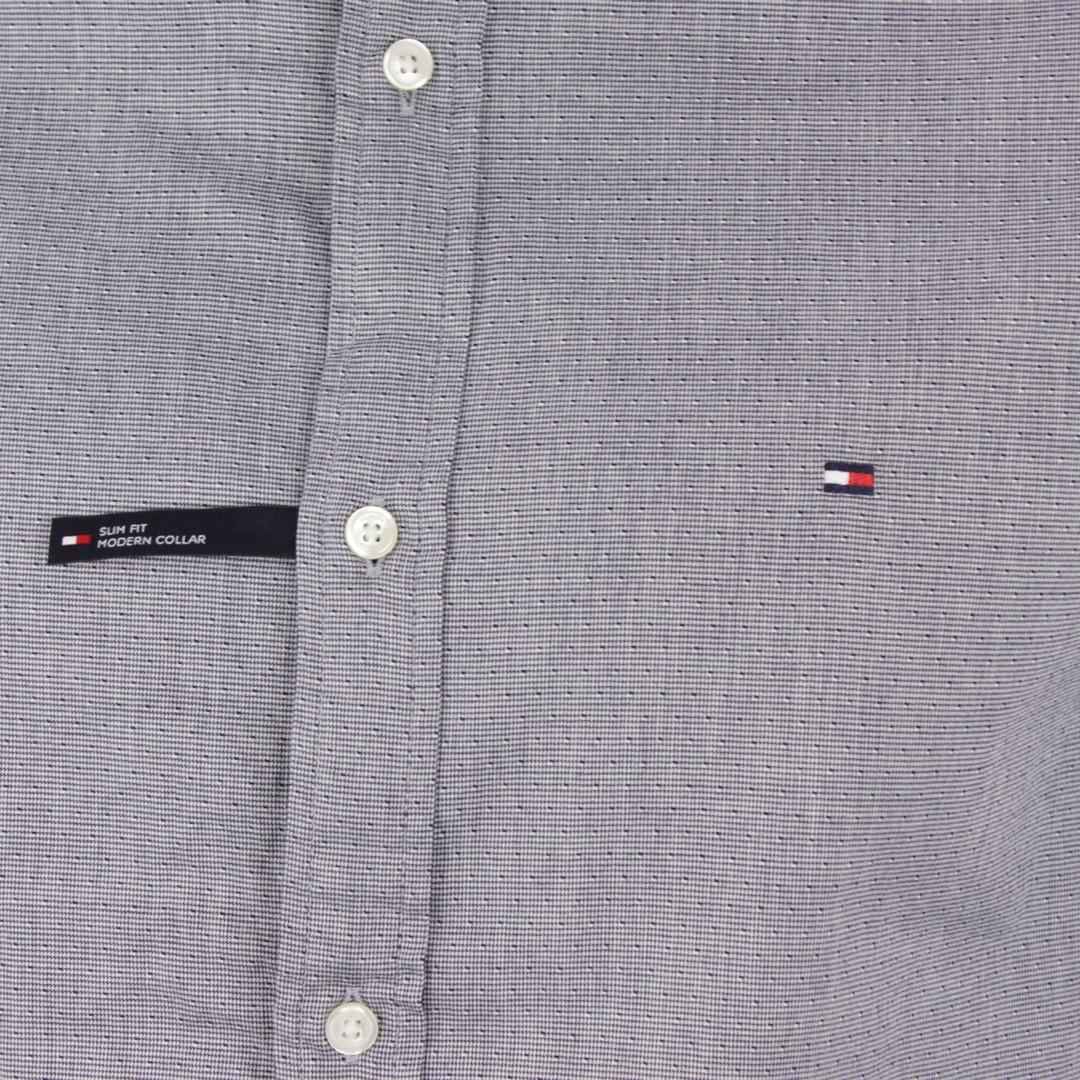 Tommy Hilfiger Herren Hemd blau Mikro Hahnentritt Muster MW0MW14011 DCC