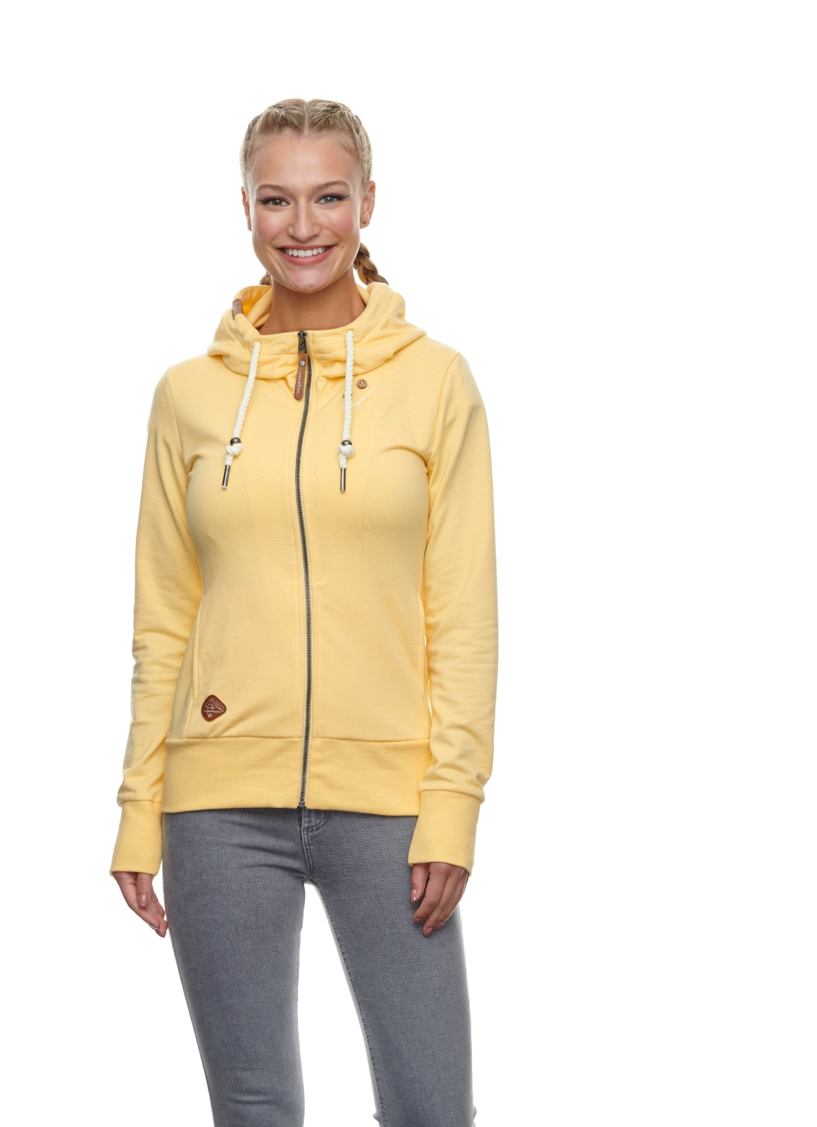 Ragwear Damen Sweat Jacke gelb unifarben Paya 2111 30038 6033 Vanilla