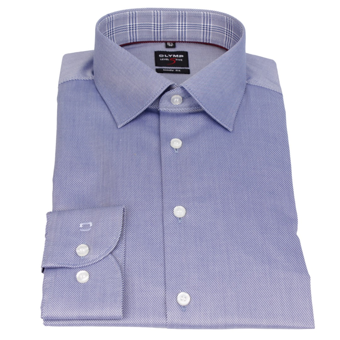Olymp Herren Body Fit Hemd Level 5 blau Unifarben 1887 17 19