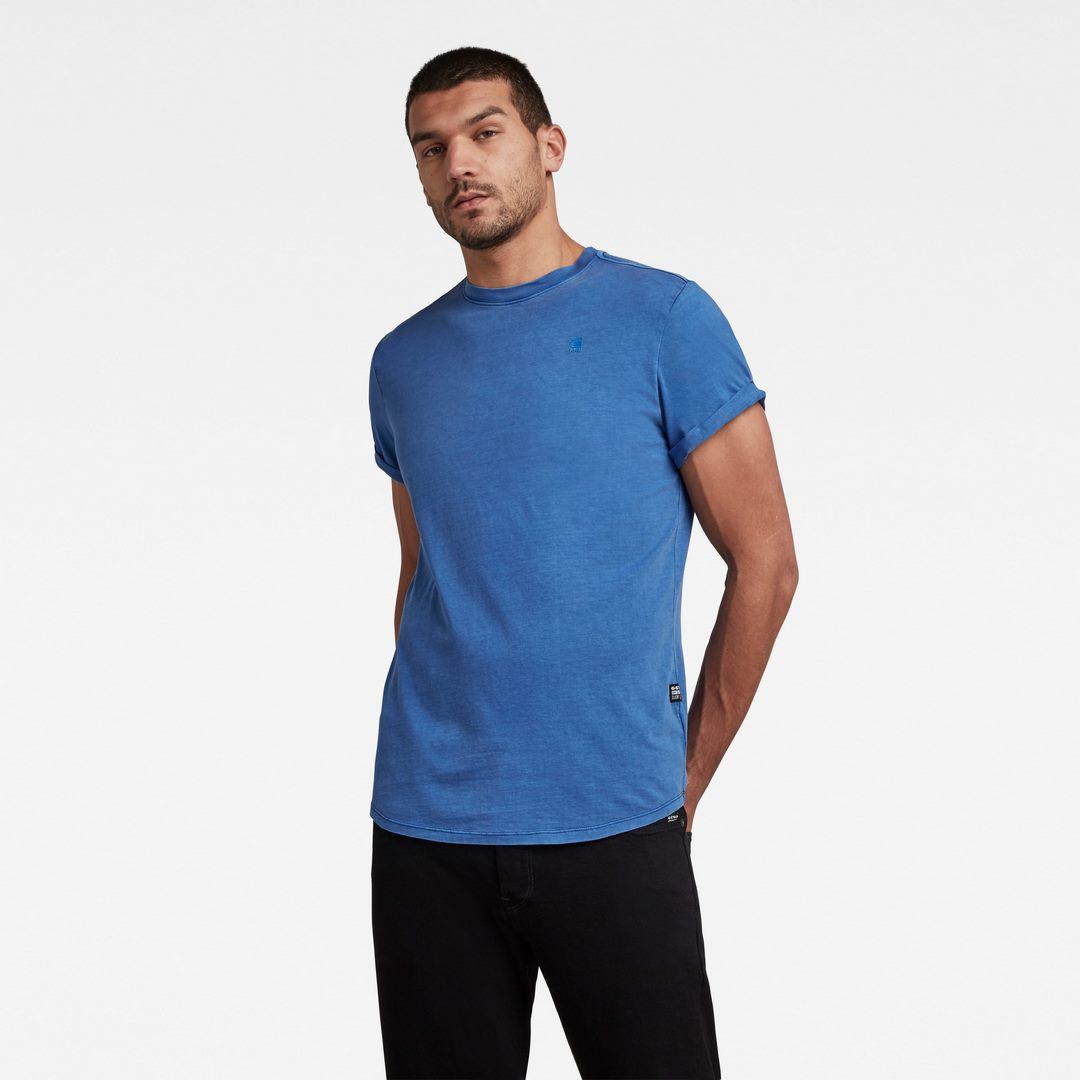 G-Star Raw Herren T-Shirt Lash Round Neck blau unifarben D16396 2653 C205
