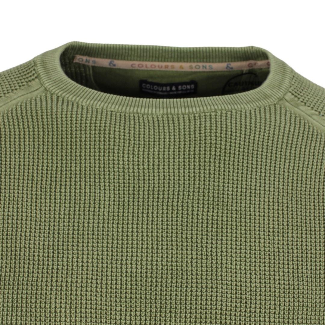 Colours & Sons Herren Strickpullover Pullover Grün Unifarben 9221 101 799 Olive