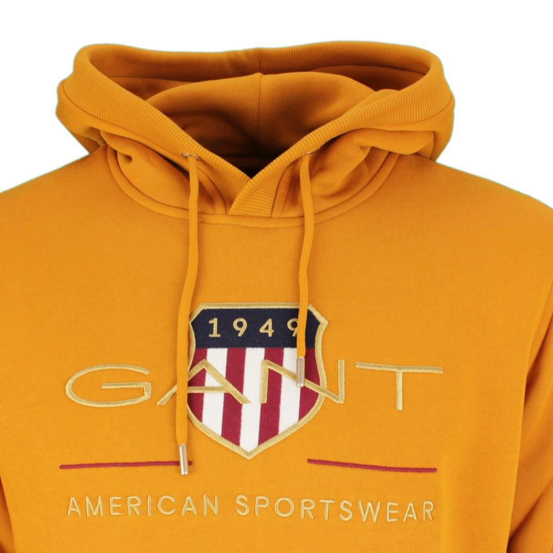 Gant Archive Shield Hoodie Kapuzen Sweat Pullover 2047056 822 Dk Mustard Orange