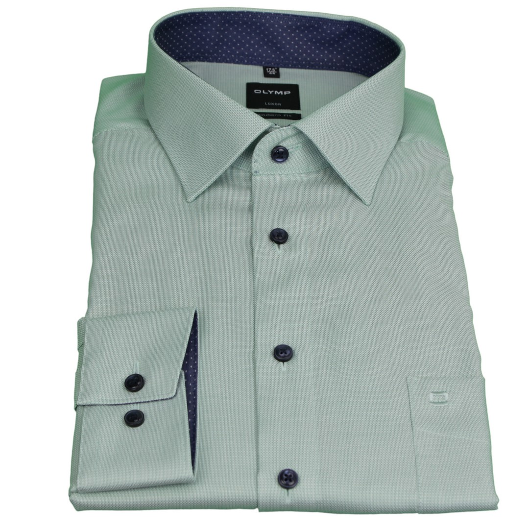 Olymp Herren Luxor Modern Fit Hemd grün unifarben 1268 54 45