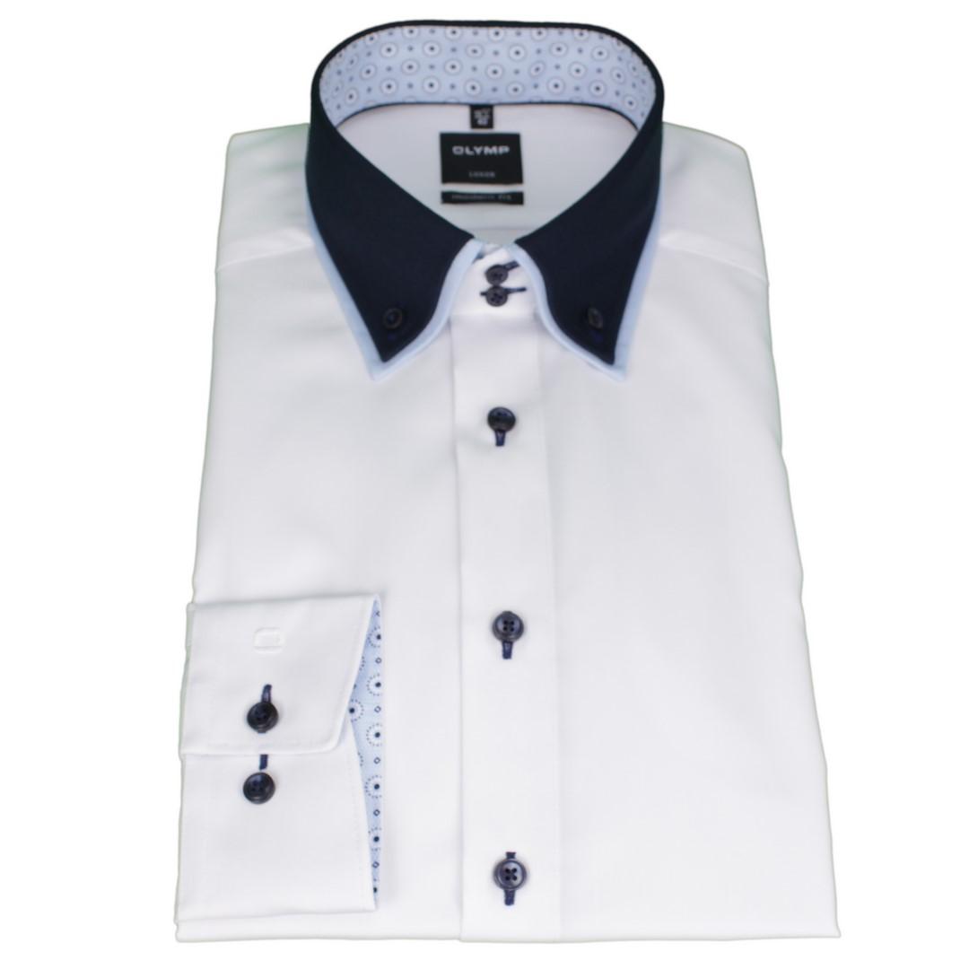 Olymp Modern Fit Hemd Doppelkragen weiß unifarben 1296 44 00