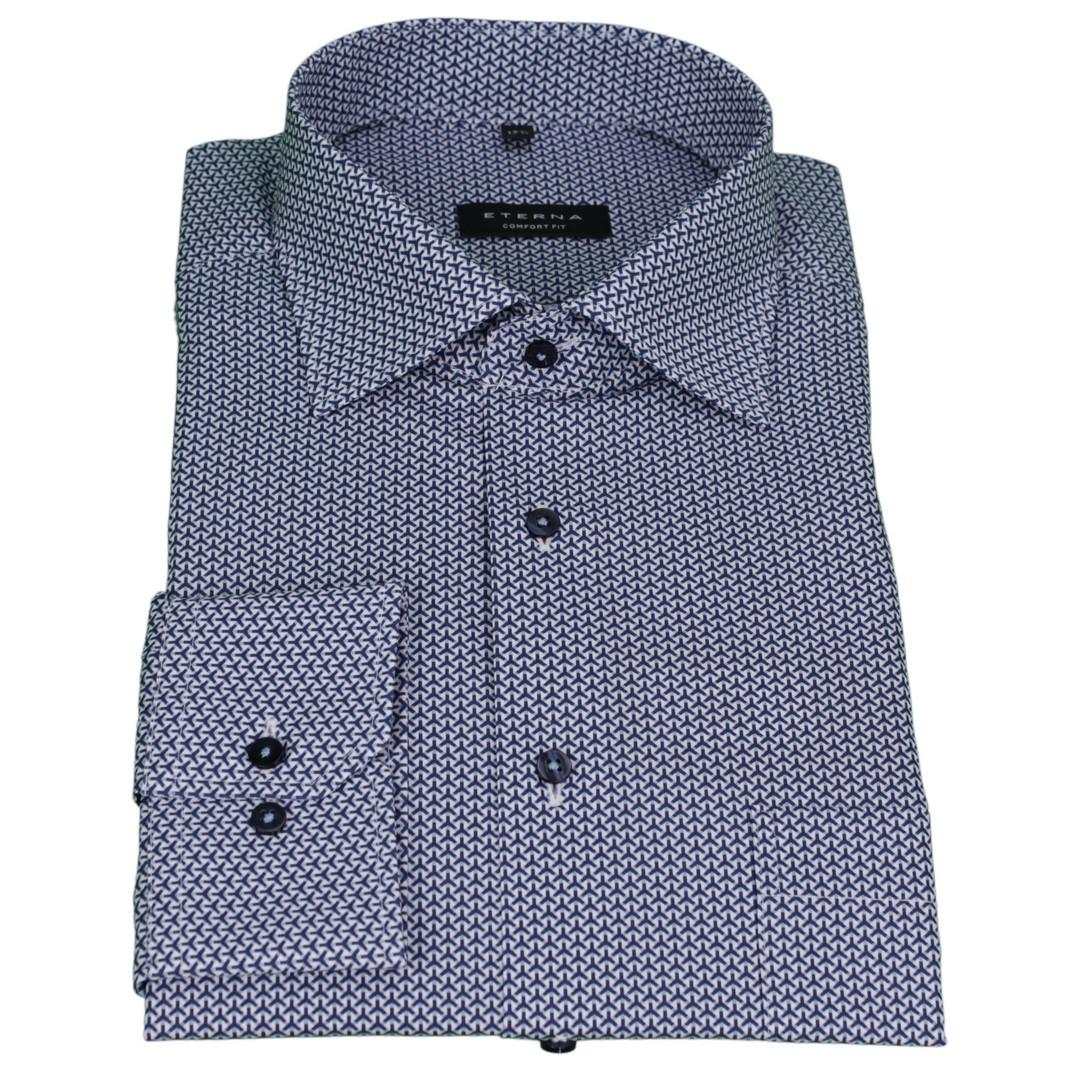 Eterna Herren Hemd Comfort Fit blau Minimal Muster 3913 E19K 47