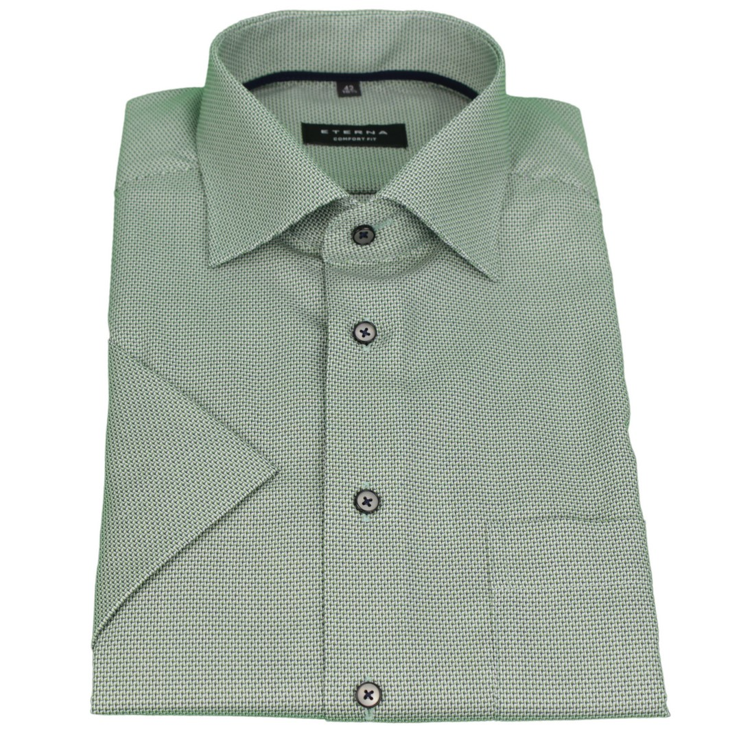 Eterna Halb Arm 1/2 Kurzarm Hemd Comfort Fit grün strukturiert 3229 K19K 43