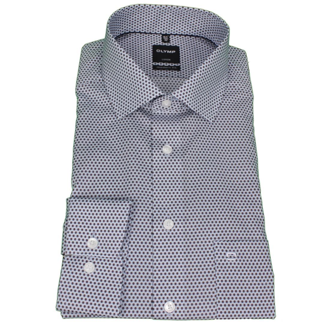 Olymp Herren Luxor Modern Fit Hemd blau braun gemustert 128464 27
