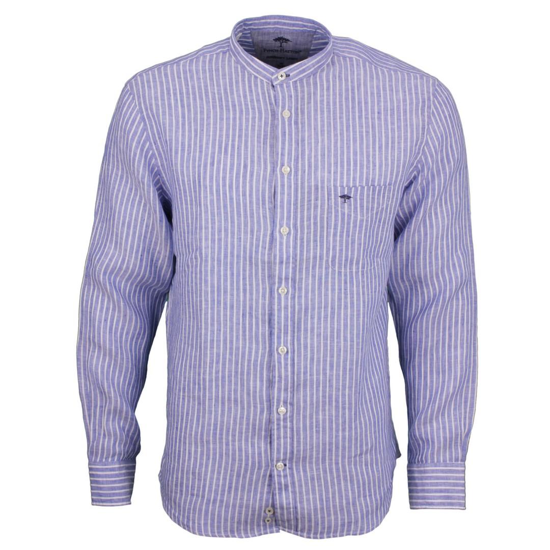 Fynch Hatton Freizeit Leinen Hemd blau weiß gestreift 11216048 6045 white Stripe