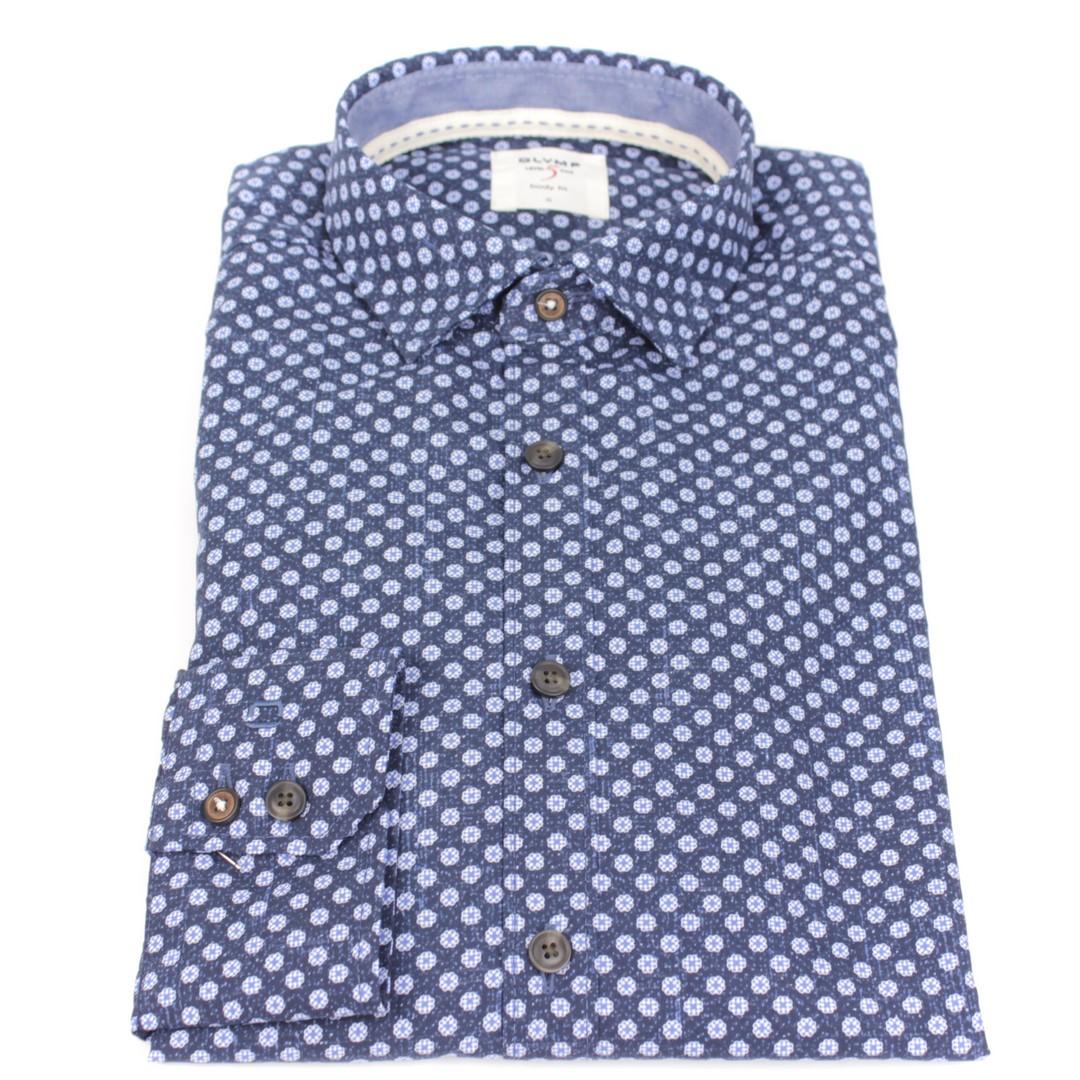 Olymp Herren Casual Level 5 Freizeit Hemd blau Minimal Muster 3002 24 18