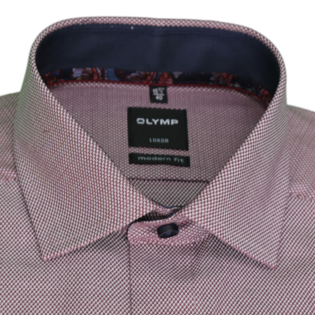 Olymp Modern Fit Hemd rot unifarben strukturiert 1204 44 39