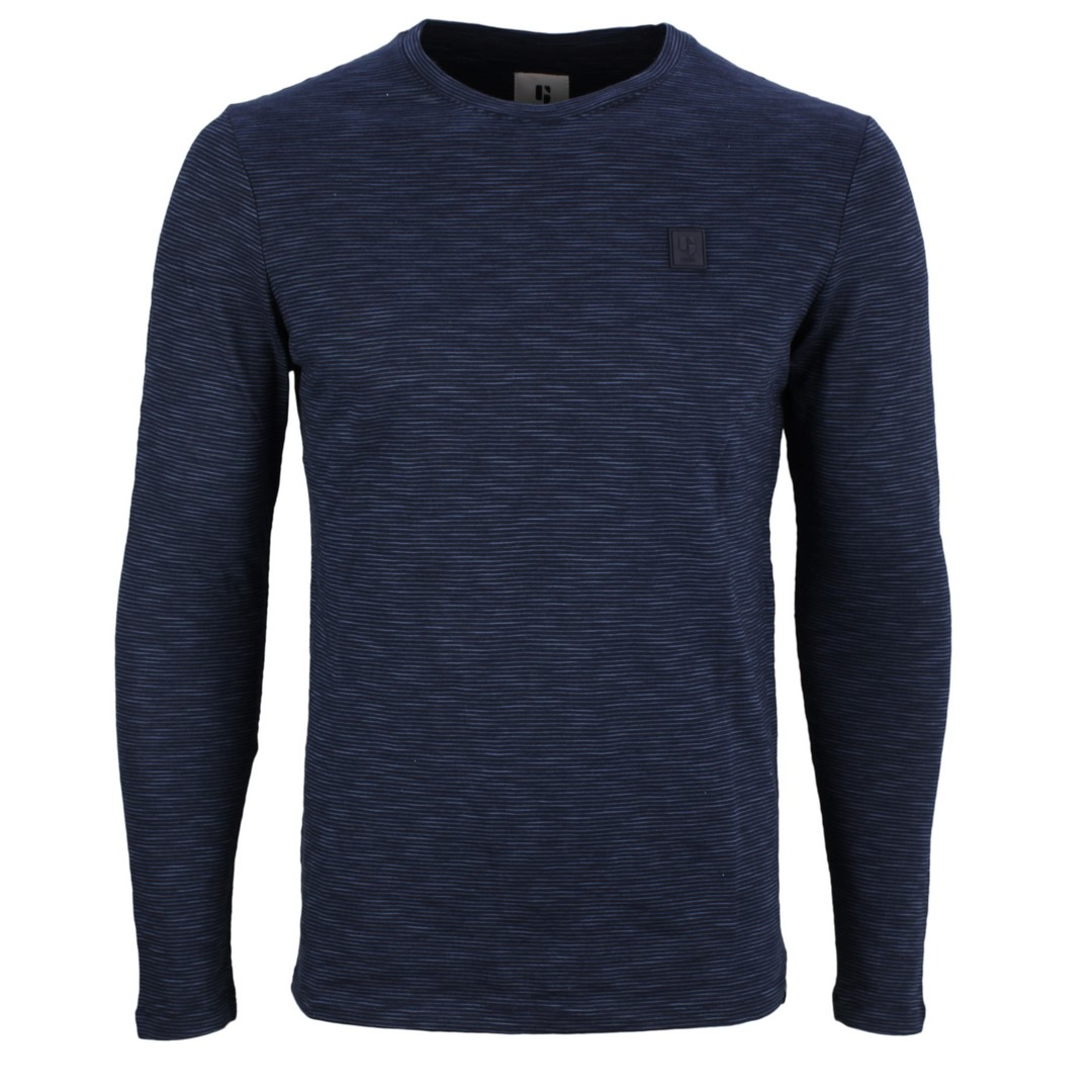 Garcia Herren langarm Shirt blau gestreift GS010808 292 dark moon