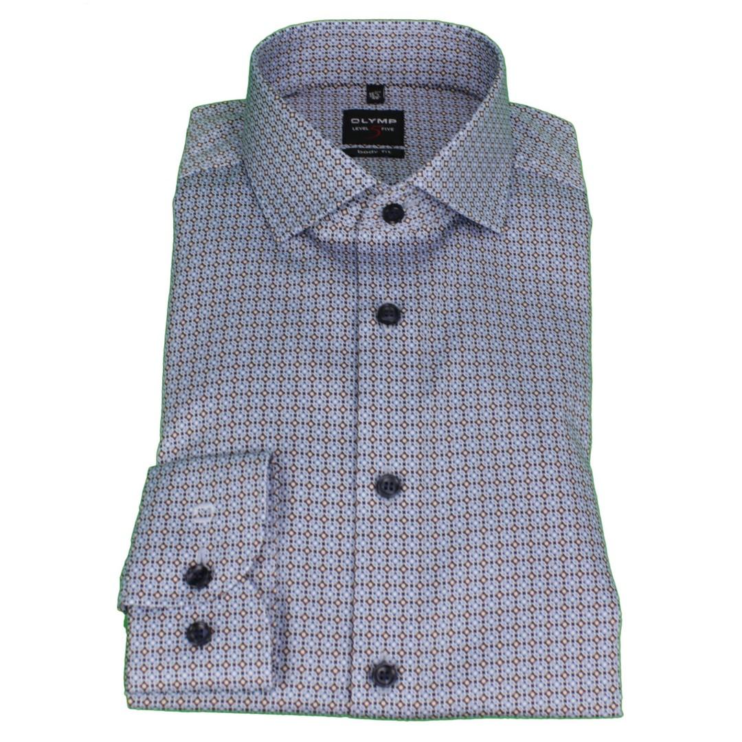 Olymp Herren Body Fit Level 5 Hemd mehrfarbig gemustert 207464 27