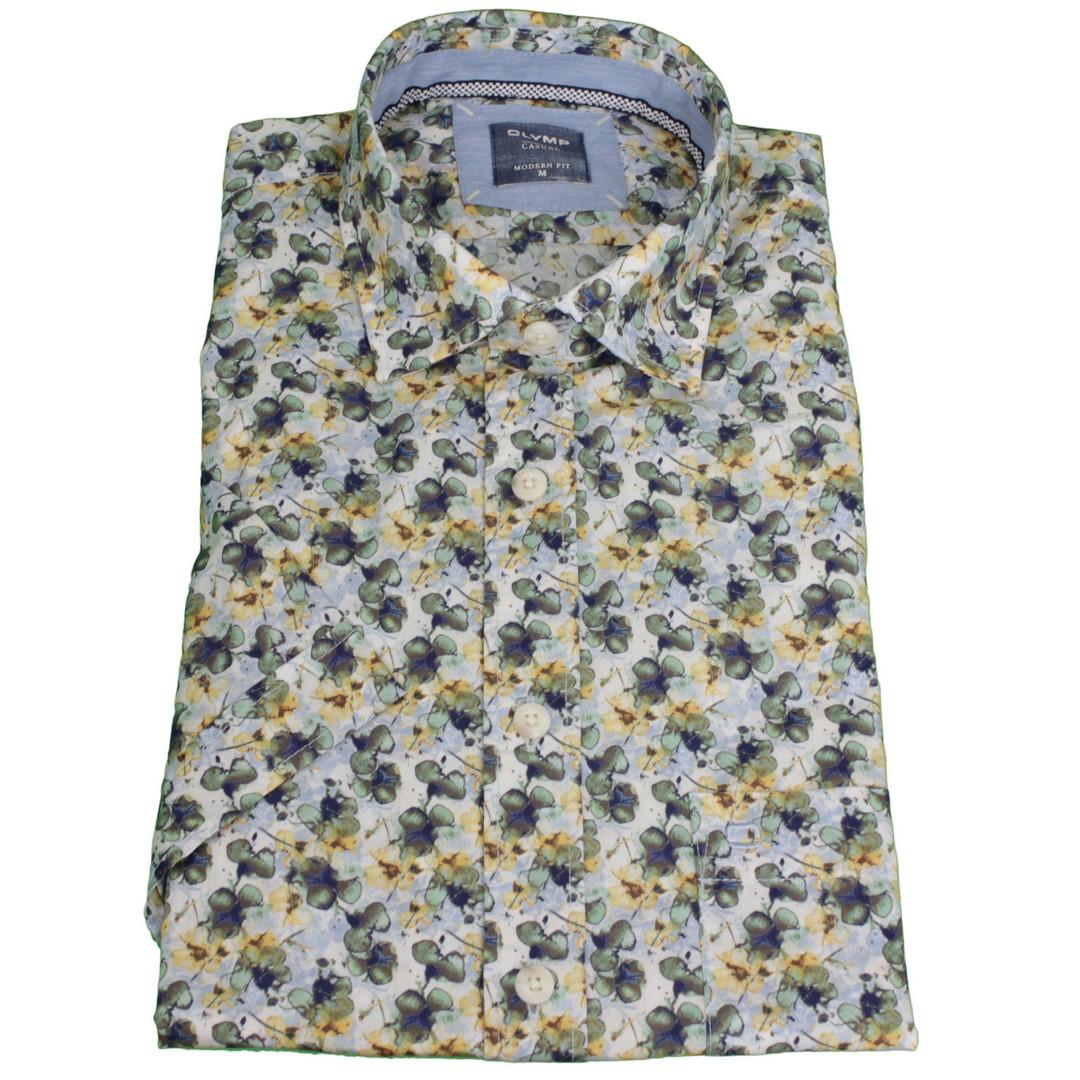 Olymp Herren Casual Hemd Kurzarm mehrfarbiger Blumen Print 404272 50