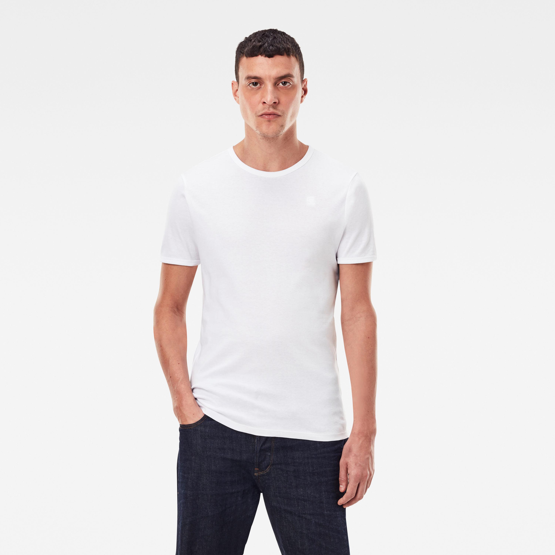 G-Star Raw Herren Round Neck Doppelpack Basic T-Shirt weiß blau D07205 124 3369