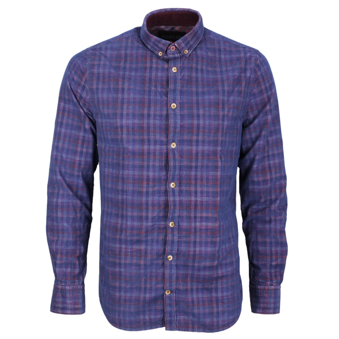 Colours & Sons Herren Freizeit Hemd Shirt Various Pattern blau kariert 9221 290 294 Cord check