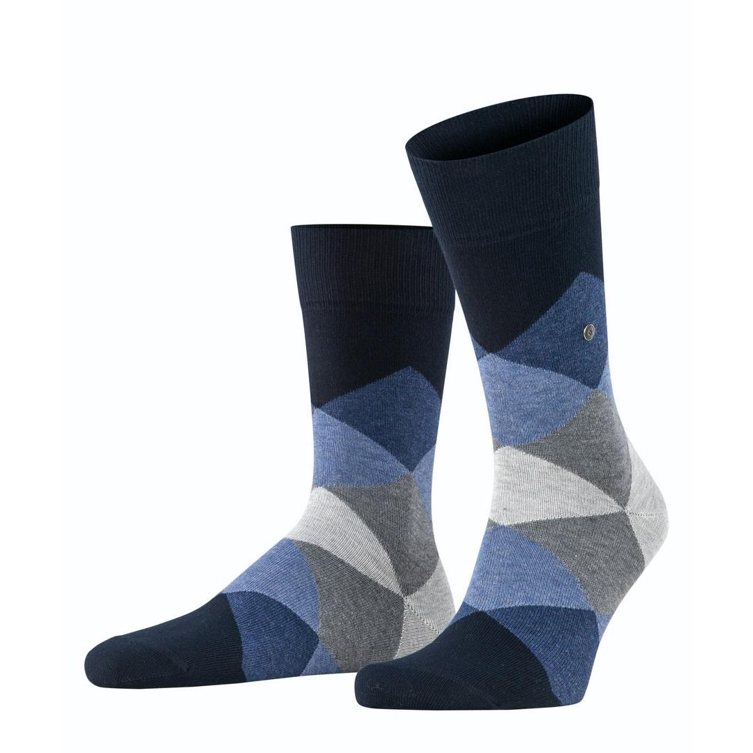 Falke Socken dunkelblau Agryl Muster Burlington Clyde 20942 6376 dark navy