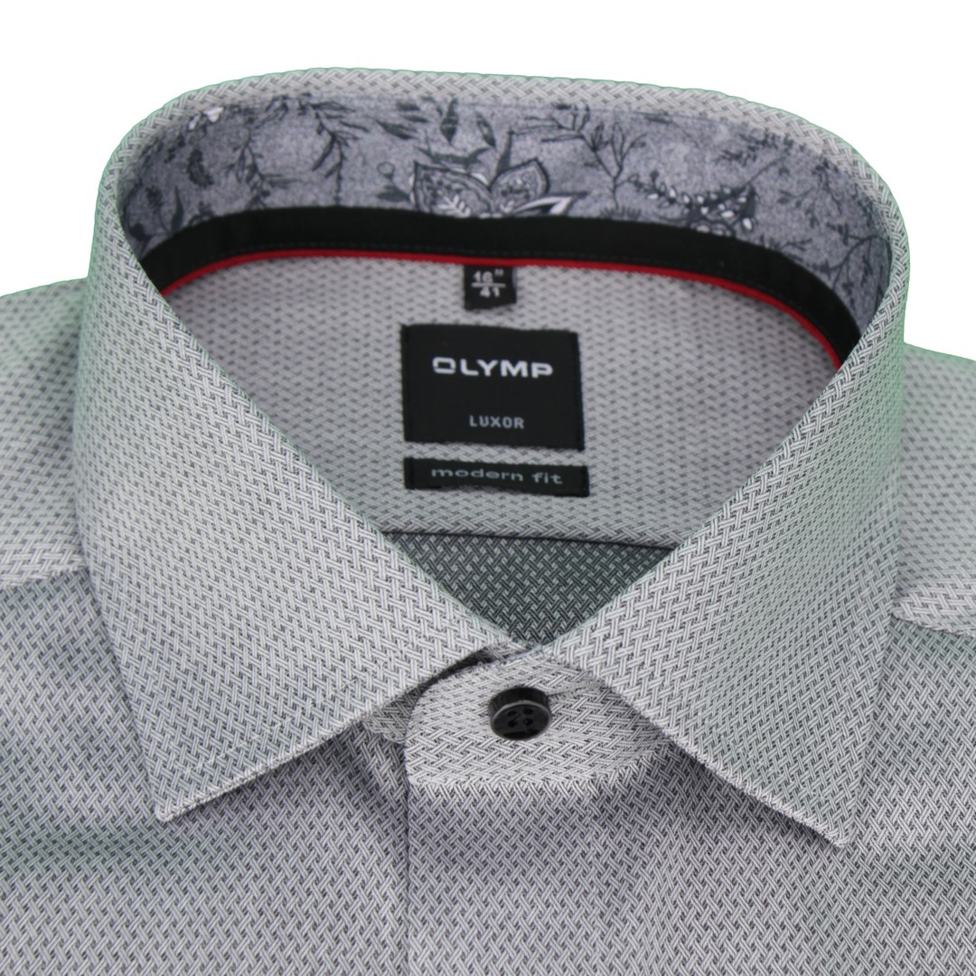 Olymp Herren Luxor Modern Fit Hemd grau Strukturiert 1200 34 68