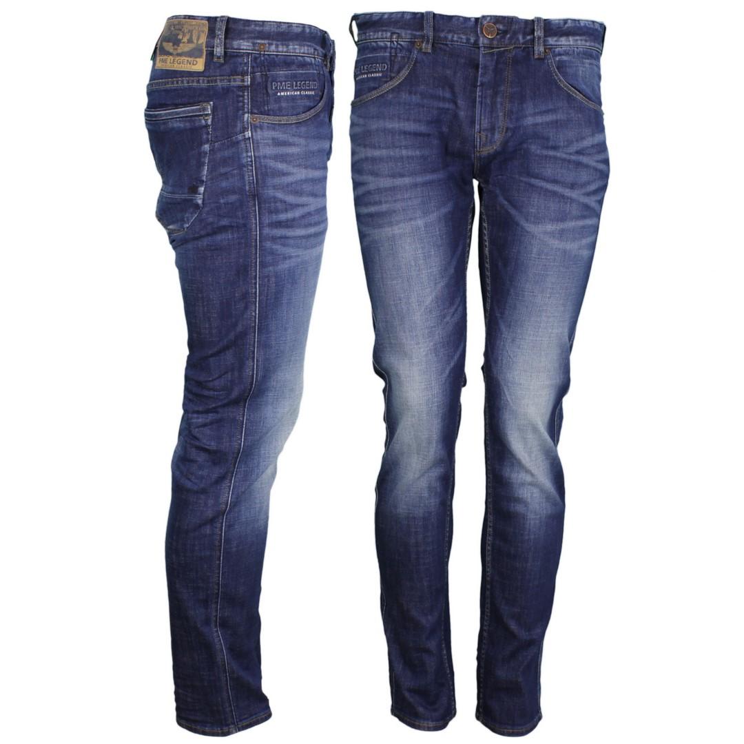 PME Legend Herren Jeans Hose Slim Fit Indigo blau Stone washed PTR120 MVB
