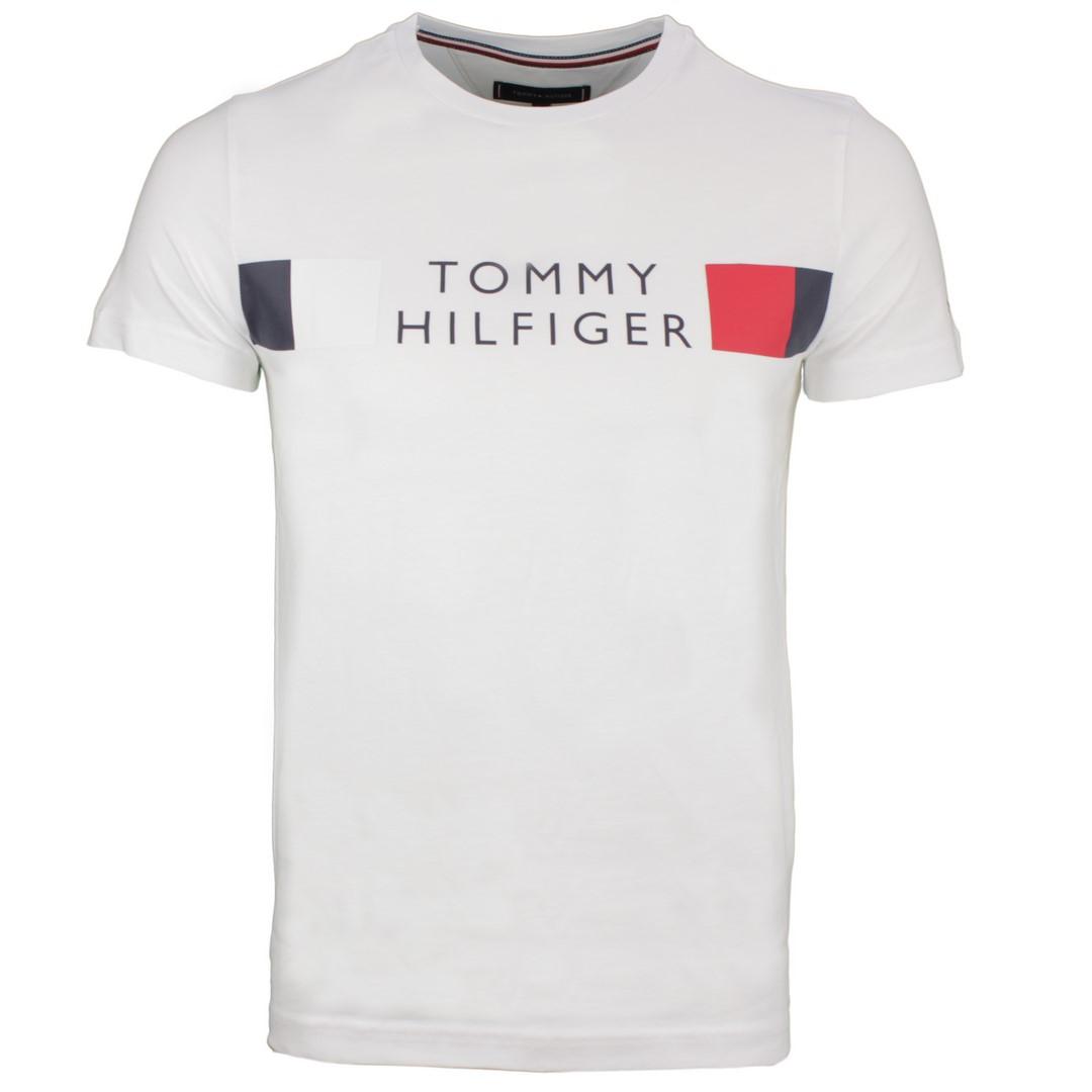 Tommy Hilfiger Herren T-Shirt Logo Druck weiß MW0MW13330 YBR