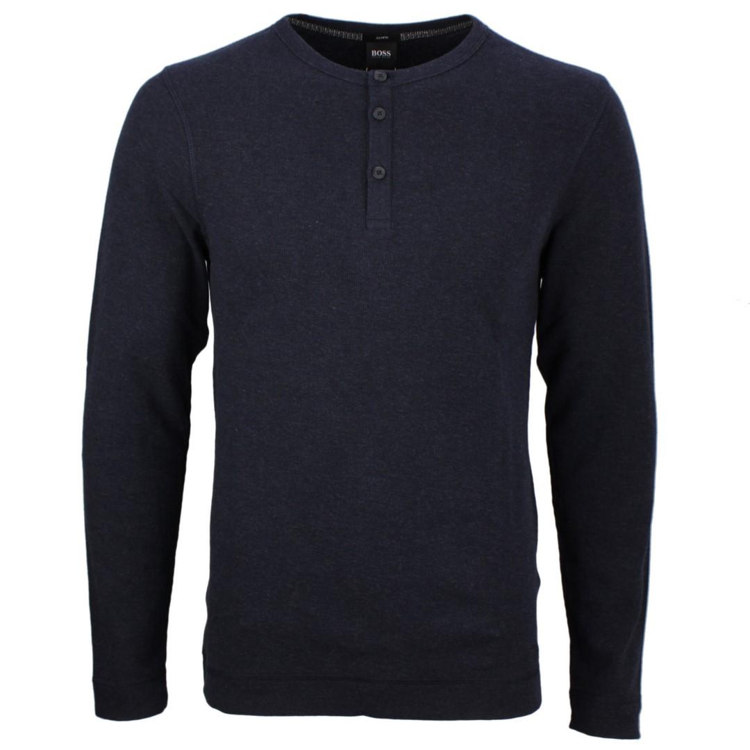 Hugo BOSS Herren Henley langarm Shirt dunkel blau Trix 50401843 404 dark blue