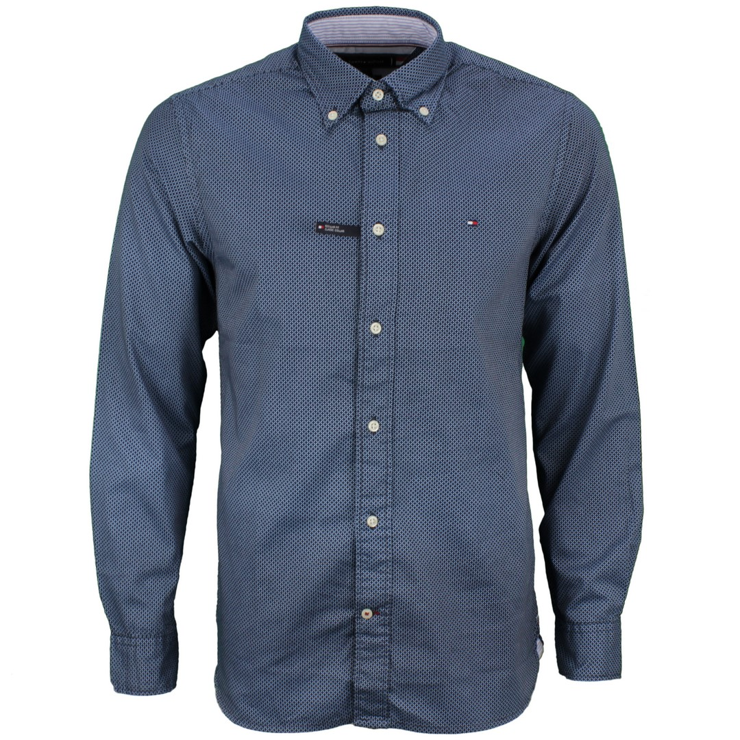 Tommy Hilfiger Herren Hemd Geo Floral Print blau Minimal Muster MW0MW15053 0GZ