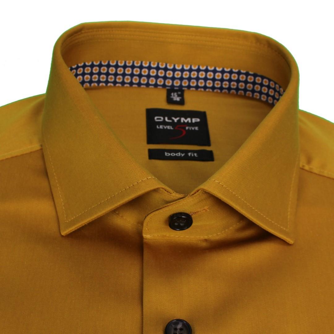 Olymp Herren Body Fit Level 5 Hemd Curry gelb unifarben 204064 53