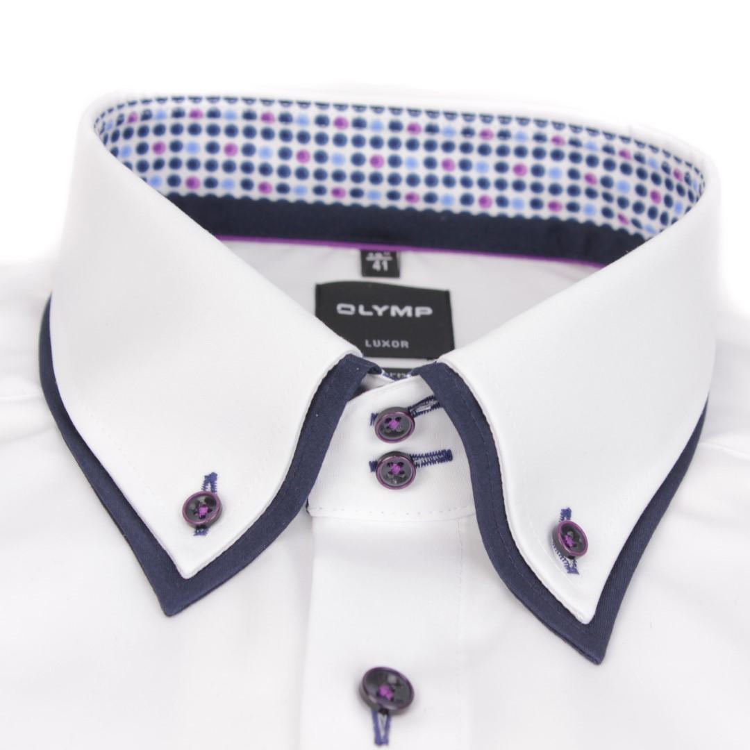 Olymp Herren Modern Fit Hemd weiß Doppel Kragen Unifarben 1298 24 00