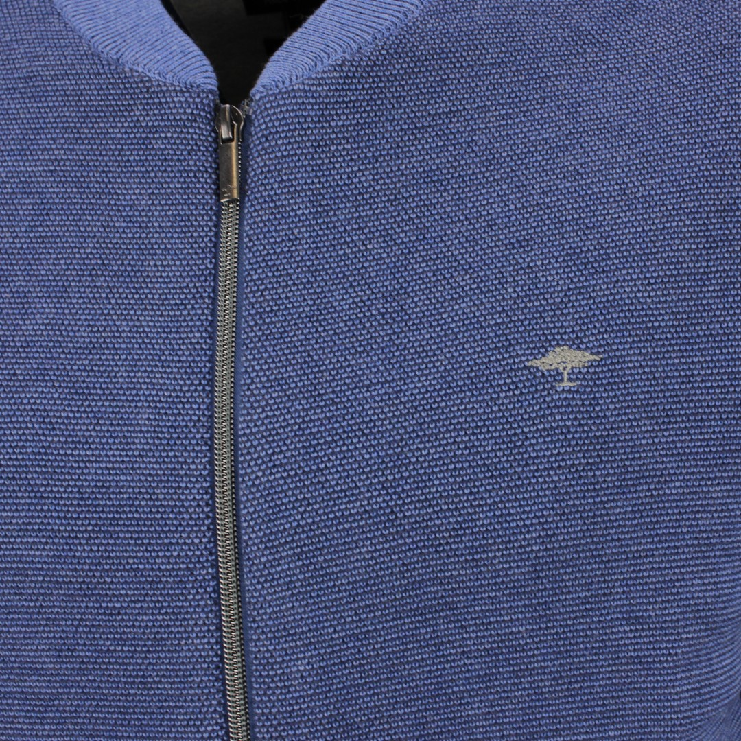 Fynch Hatton Strickjacke blau unifarben strukturiert 1121251 1621 sailor night