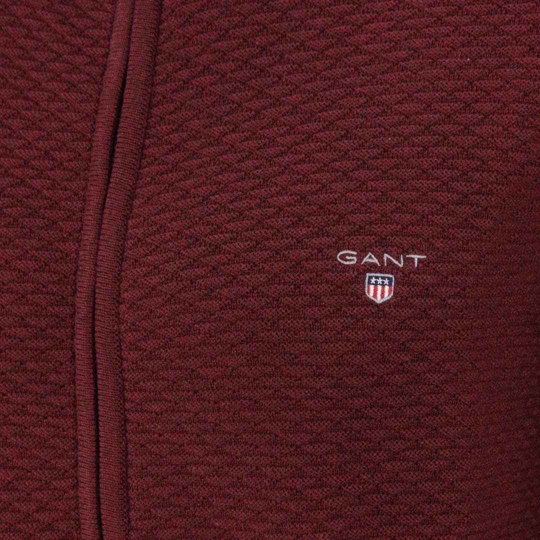 Gant Herren Strick Jacke Triangle fullzip rot strukturiert 8030032 678 burgundy