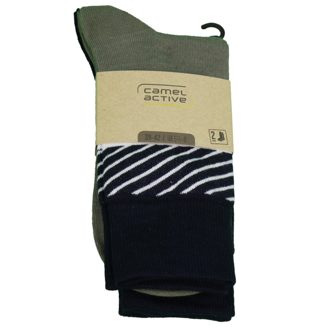 Camel active Socken Doppelpack Uni Blockstreifen blau grün 6604 594