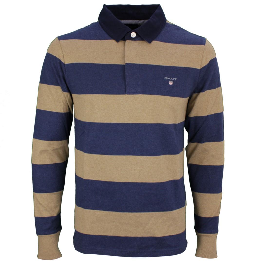 Gant Herren Rugby Shirt Heavy Rugger Blockstreifen blau beige 2005051 295 Sand